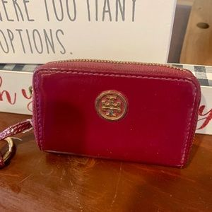 Tory Burch preowned keychain wallet wine color